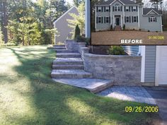 Custom Stepped WALKWAY and retainer wall Installation