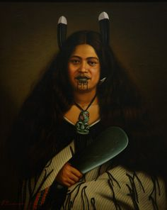 Picture of Maori women from the A Moari high born (warrior class) woman with the Moko or facial tattoos and Tiki jade pedant for protection, and the Pounamo Mere or jade hand-axe, a prized item. Polynesian People, Polynesian Culture, Polynesian Art, New Zealand Tattoo, New Zealand Art, We Are The World, People Of The World, Maori Tribe, Maori People