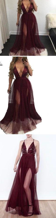 Sexy Slits Prom Dress,Sequined Formal Gowns,Sexy Deep V neck Maxi Dress ,Long Tulle Evening Dress,Long Eevening Dress