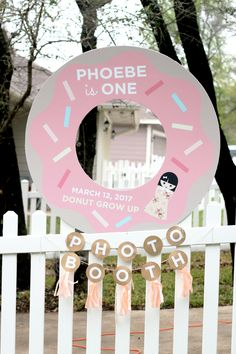 Elei Ink and Paper - Donut grow up photo booth - donut birthday - donuts and dolls party theme - peach and pink color theme - first birthday