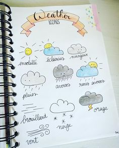 Cute bullet journal doodles for recording the weather!
