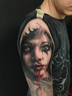 Zombie girl tattoo on arm - 35 Horrible Zombie Tattoos  <3 !