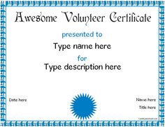 editable volunteer certificates - Google Search | Crafts for kids ...