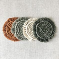 Coaster Set of 4 / Rust, Blush, Army Green, Cream / Macrame Coasters Macrame Patterns, Crochet Patterns, Yarn Crafts, Diy And Crafts, Mode Crochet, Diy Coasters, Macrame Projects, Boho Diy, Handmade Decorations