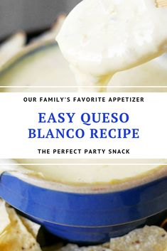 This Easy Queso Blanco Recipe is a quick way to make white cheese dip using Velveeta and peppers. Serve with chips as a taco side dish or a party appetizer! Queso Recipe Easy, White Queso Recipe, Mexican Appetizers, Appetizer Recipes, Mexican Food Recipes, Mexican Dishes, White Cheese Sauce, White Cheese Dips, Mexican White Cheese Dip