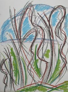 Spring forest #art #pastels #nature #forest #drawing #spring #abstract