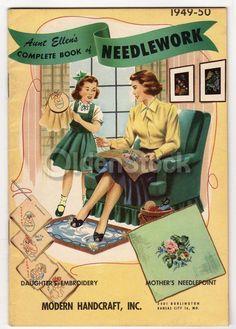 Needlepoint Embroidery Vintage 1950s Graphic Illustrated Needlework Magazine