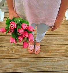Pink tulips to match Pink Palm Beach Sandals