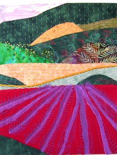 """""""Provence"""" by Ingrid Ellis. Hand and machine stitched textile. Framed, no glass. Picnic Blanket, Outdoor Blanket, Textile Art, Provence, Collages, Mixed Media, Textiles, Quilts, Embroidery"""