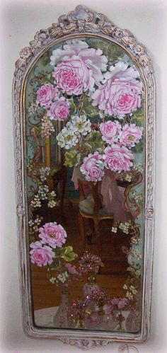 painted roses on mirror - antiqued frame -http://www.catherinerisirosepaintings.com/Handpainted_Furniture