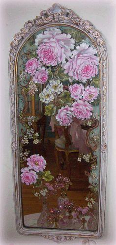 painted roses on mirror - antiqued frame -http://www.catherinerisirosepaintings.com/Handpainted_Furniture