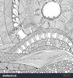Black And White Fantasy Picture.The Hot Sun, The Beautiful Landscape, The Trees. Sunlight. Mountains And Plains. Pattern For Coloring Book. Hand-Drawn, Ethnic, Doodle, Vector, Zentangle. - 456460675 : Shutterstock