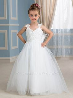 White Wedding Reception Dress for Bride Fresh Custom Made New White Lace Ball Gown Flower Girl Dresses with Beads Floor Length Tulle Little Munion Girl Pageant Dresses for Weddings toddlers Princess Flower Girl Dresses, Tulle Flower Girl, Cheap Flower Girl Dresses, Tulle Flowers, Tulle Lace, Little Girl Dresses, Tulle Dress, Cheap Dresses, Cute Dresses