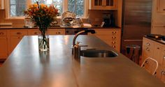 1 1 2 patinated finish zinc countertop eased square edge for Zinc countertop cost