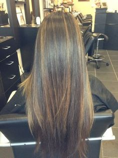 Balayage on straight hair.