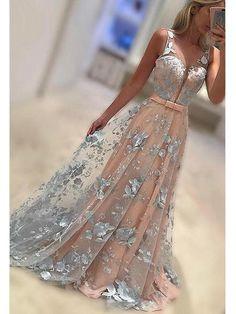 A-line V neck Appliqued Prom Dresses, Spaghetti strap Sweep Train Dresses ASD2643 v neck prom dresses, appliqued prom dresses, long dresses for autumn.2017,2k17