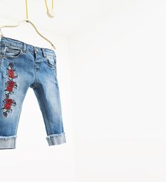 Image 1 of Floral embroidered jeans from Zara