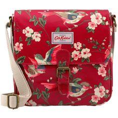 Cath Kidston British Birds Mini Satchel, Berry featuring polyvore fashion bags handbags satchel purse red handbags red purse red satchel print handbags