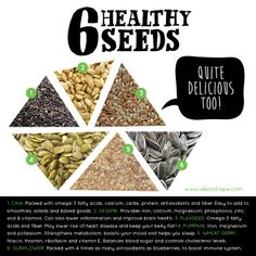 6 Healthy Seeds: Add to any dish or smoothie for an extra boost! #idealshape #shape4life #smoothie #seeds