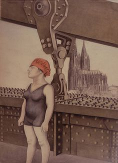The swimmer of Cologne 1926-28 by Karl Hubbuch (German 1891 – 1979)