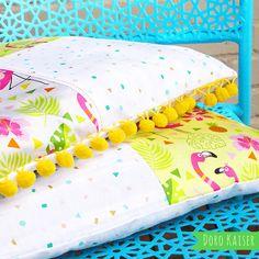 """Mein Stoffdesign: Patchworkkissen aus meinem Stoff """"Pink Flamingo"""" #stoff #surfacepattern #flamingo #summer #tropic #fabricpattern #patterndesign #nähen #spoonflower #stoffschmiede #stoffliebe #patchwork"""