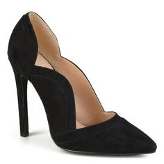 ¿Create your chic style in pointed toe pumps by Journee Collection. Premium faux suede uppers highlight unique top-stitching and grooved detail that complements scalloped edges on the design. Pointed toes and sky-high stiletto heels finish the look. High Heel Pumps, Platform High Heels, Black High Heels, Pumps Heels, Stiletto Heels, Black Closed Toe Heels, Heeled Sandals, Suede Pumps, Fashion Heels