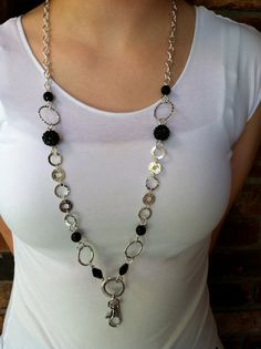 Sparkly Black and Silver Lanyard Necklace by MyMinderella on Etsy, $15.00