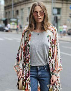 A basic t-shirt under a spring kimono