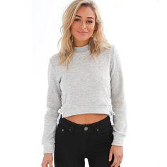 2016 Women Hoodies Sweatshirt Casual Sexy Long Sleeve Autumn Winter Cotton Fleece Pullovers Side Slit Hoodies Crop Tops A972