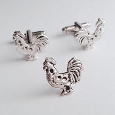 Men's Silver Metal Chicken Rooster Cufflinks & Tie by Lynx2Cuffs