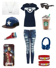 """Contest entry: #PVStyleInsiderContest"" by wolvesandrainbows ❤ liked on Polyvore featuring Current/Elliott, Renben, Marvel Comics, RetroSuperFuture, Beats by Dr. Dre and PVStyleInsiderContest"
