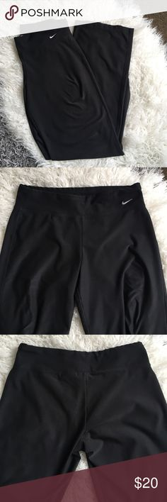 Nike Yoga Pants Size small Nike Bootcut yoga pants. Waist about 14 in across, rise about 9in, inseam about 32in, leg opening about 9 in. Some stretching in the thigh area but you can't see it once they are on, other wise great condition. Nike Pants Track Pants & Joggers