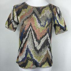 Theory 'Cirea' Sag Harbor Chevron Short Sleeve Knit Linen Shirt Medium S14 | eBay
