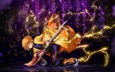 Download wallpapers Agatsuma Zenitsu, lightings, Demon Hunter, samurai, Kimetsu no Yaiba, Zenitsu Agatsuma, Demon Slayer, yellow lightings, manga, Zenitsu Agatsuma with sword besthqwallpapers.com