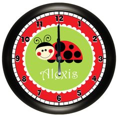 Personalized Lady Bug Clock with Red, Black, and Green