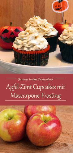 Apfel-Zimt Cupcakes mit Mascarpone-Frosting How about autumn on the plate? For example in cupcake form? Try these incredibly delicious apple cinnamon cupcakes with mascarpone frosting [. Cinnamon Cupcakes, Pumpkin Spice Cupcakes, Cinnamon Apples, Frosting Recipes, Cupcake Recipes, Cookie Recipes, Dessert Recipes, Cinnamon Cream Cheese Frosting, Cinnamon Cream Cheeses