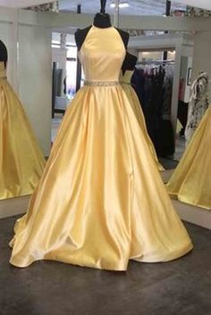 Yellow satins A-line round neck backless long prom dress,graduation dress