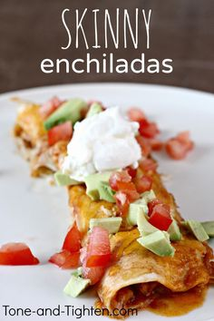 So good you actually forget it's good for you! Skinny Slow Cooker Enchiladas on Tone-and-Tighten.com #healthy #recipe