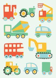 Voertuigen Poster van Hikje. Vrolijke poster met auto's en meer Voertuigen. -Dreumes enZo Kinderwinkel