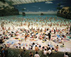 Japan. Miyazaki. The Artificial beach inside the Seagaia Ocean Dome. 1996. Martin Parr