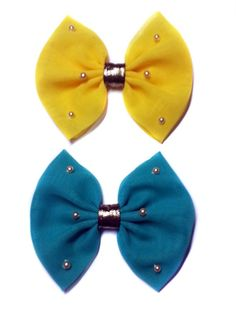 Bold Tropical Chiffon and Gold Pearls Hair Bow--aqua, Yellow, or Green--set of 2 (Alligator Clip, Green and Yellow) -- You can get more details by clicking on the image.