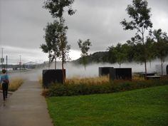 """Québec's fog fountain by Udey Johnson - While walking along the Promenade Champlain next to the St. Lawrence in Quebec City, I stumbled on this unique """"Fog Fountain""""."""