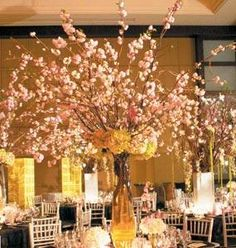 Cherry blossom centerpiece, all the right colors too!