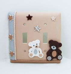 Teddy Bear Light Switch or Outlet Cover - Tan, Brown, Gray, White - Nursery, Children's