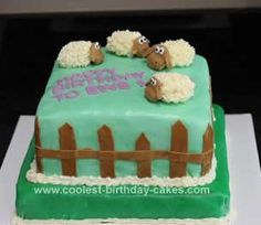 This Homemade Pasture of Sheep Cake was my first fondant cake! The cake is yellow vanilla with the Wilton Buttercream Icing recipe on top (under the fondan Wilton Buttercream Icing, Buttercream Filling, Sheep Cake, Lamb Cake, Cake Decorating With Fondant, 1 Stick Of Butter, Cool Birthday Cakes, Birthday Ideas, Animal Cakes
