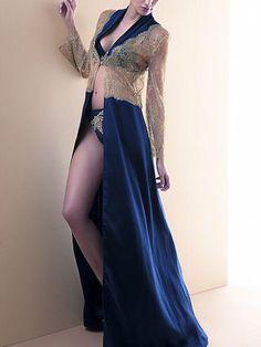 Lise Charmel Recital Bleu Silk & Lace Robe
