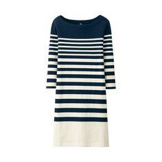 WOMEN Striped 3/4 Sleeve Dress