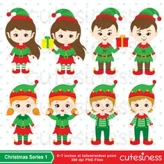 Christmas Elf Digital Clipart Christmas Elve Clipart by Cutesiness