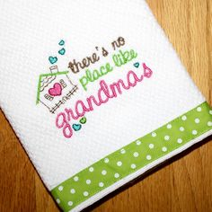 Embroidered Gift Kitchen Dish Towel for Grandma...Pink White Lime Green Polka Dot