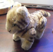 """Small Vintage Steiff Mohair Fully Jointed Tiger Cub Stuffed Animal 4"""" Tall"""
